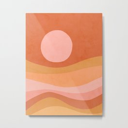 Peachy Summer Sunset - Abstract landscape Metal Print