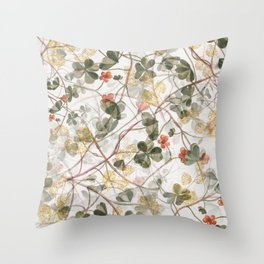 Abstract green pink gold clover leaves illustration Throw Pillow