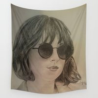allyson johnson Wall Tapestries featuring DAKOTA JOHNSON by Virginieferreux