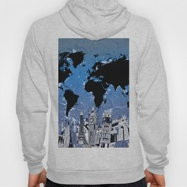 world map city skyline 8 Hoody