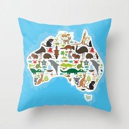 map of Australia. Echidna Platypus ostrich Emu Tasmanian devil Cockatoo parrot Wombat snake turtle Throw Pillow