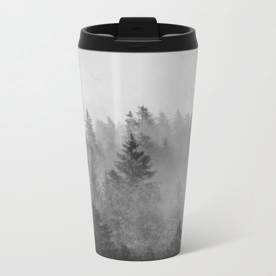 Black and White Forest Abstract Metal Travel Mug