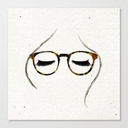 Tortoiseshell Glasses Brunette Canvas Print