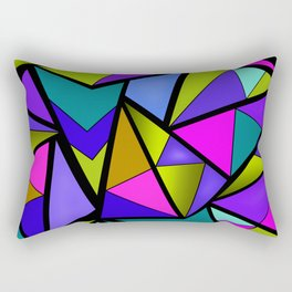 An abstract geometric pattern . Brightly colored triangles . Rectangular Pillow