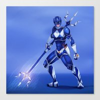 power ranger Canvas Prints featuring Blue Ranger by Isaiah K. Stephens