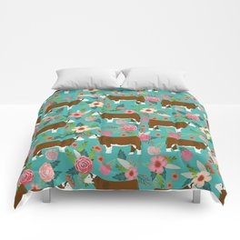 Hereford Cattle breed floral farm homestead gifts cow art florals Comforters