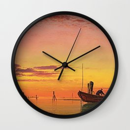 Last Catch of the Day at Sunset on the Lagoon, Venice by Edward William Cooke Wall Clock