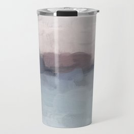 Blush Pink, Mauve Purple, Navy Light Blue, Abstract Painting, Modern Wall Art, Ocean Waves Horizon Travel Mug