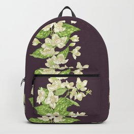 Jasmine seamless blooming branch Backpack