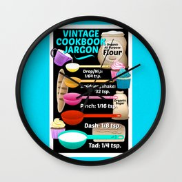 Colorful Vintage Cookbook Jargon Teaspoons Measurements // Kitchen Decor Wall Clock