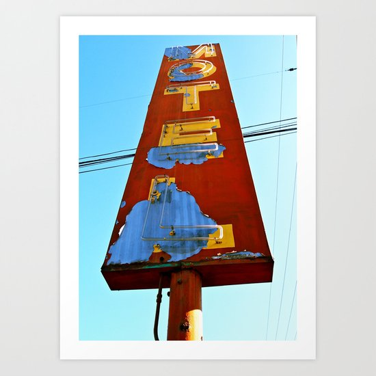 Old 99 Motel Sign Art Print