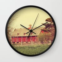 american beauty Wall Clocks featuring American Beauty Vol 18 by Farmhouse Chic