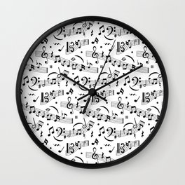 Doodle pattern with hand drawn music notes. Wall Clock