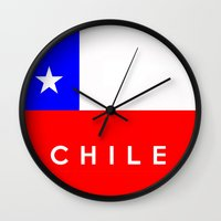 chile Wall Clocks featuring Chile country flag name text by tony tudor