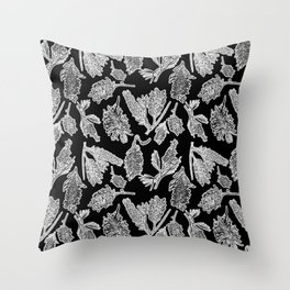Black and White Australian Native Flowers Throw Pillow