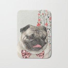 Dog printable picture,fashion dog print,dog pink bow tie,girly wall decor,animal wall hanging Bath Mat