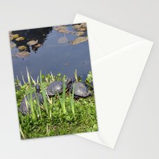 Turtles by a water pond and water plants in a garden.  Nature  photography. Stationery Cards