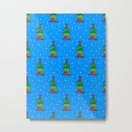 Whimsical Christmas Tree Pattern Metal Print