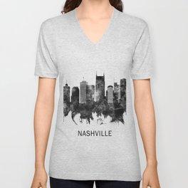 Nashville Tennessee Skyline BW Unisex V-Neck