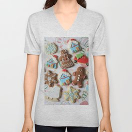 Holiday Christmas Cookie Gingerbread Unisex V-Neck