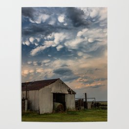August Eve - Storm Sky Over Old Barn in Oklahoma Poster