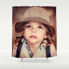 Child Looking up Girl Hat Vintage Portrait Shower Curtain