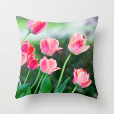 Pink Tulips Throw Pillow