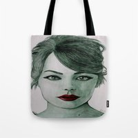 emma stone Tote Bags featuring Emma Stone  by Kristy Holding