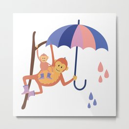 Monkeys in Rain Boots | Blue and Coral Metal Print