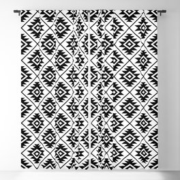 Aztec Symbol Pattern Black on White Blackout Curtain