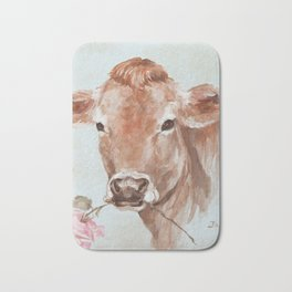Cow with Rose by Debi Coules Bath Mat