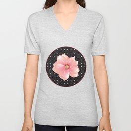 Pink flowers - Polka dots Unisex V-Neck
