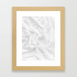 MINIMAL WHITE DRAPED TEXTILE Framed Art Print