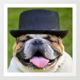 Silly Bulldog In Top Hat Art Print
