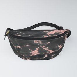 Beautiful Black marble with Glittery Rose Gold Veins Fanny Pack