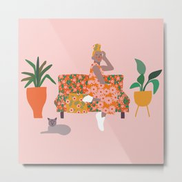 Girl with Cat and plants on couch Metal Print