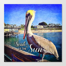 """Soak up the Sun"" California beach pier pelican Canvas Print"