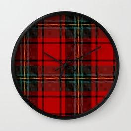 Lumberjack   Red and Green Buffalo Plaid Pattern   Christmas Red Pattern  Wall Clock