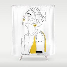 Yellow Lip Shower Curtain