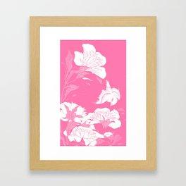 Pink JaPanese Flowers. & Bird Framed Art Print
