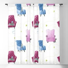 Cats & Comfy Chairs Pattern - Green Yarn Blackout Curtain