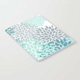 Floral Pattern, Aqua, Teal, Turquoise and Gray Notebook