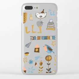 hygge cat and bird gray Clear iPhone Case