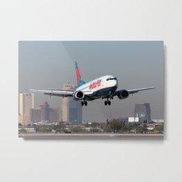 America West Airlines 737-300 against Phoenix Skyline Metal Print