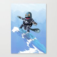 squirtle Canvas Prints featuring WATERBENDING SQUIRTLE by DROIDMONKEY