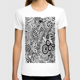 Mushy Madness doodle art Black and White T-shirt