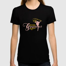 Rhythmic Gymnastics Ribbon Rope Leotard Pink Gold Dancewear T-shirt
