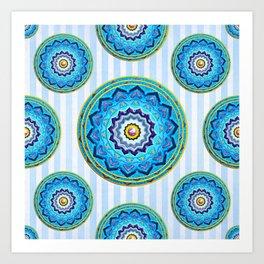 Soft Blue Mandala Pattern Art Print
