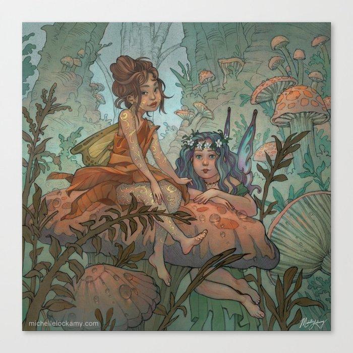Mushroom Fairies Canvas Print