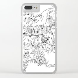 Very detailled surrealism sketchy doodle ink drawing Clear iPhone Case